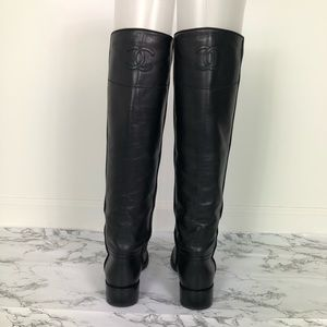 Chanel Black Knee High Riding Boots